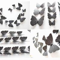Set de 12 mariposas negras