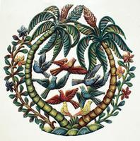 Palmeras y aves pintadas