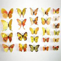 Set de 12 mariposas amarillas